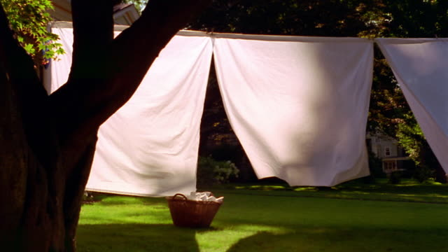 wide shot dolly shot white sheets drying on clothesline in yard with laundry basket on grass