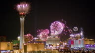 Wide shot fireworks exploding on New Year's Eve in Las Vegas