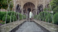 Wide shot fountains at Generalife Gardens/ Alhambra, Spain