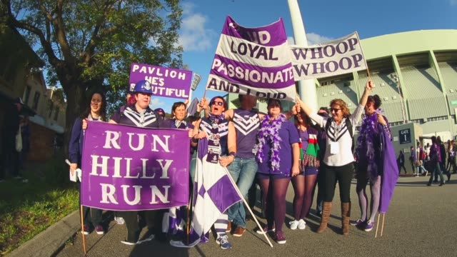 Wide Shot Fremantle Docker fans show their support brfore the 2013 AFL Preliminary final between the Fremantle Dockers and the Sydney Swans