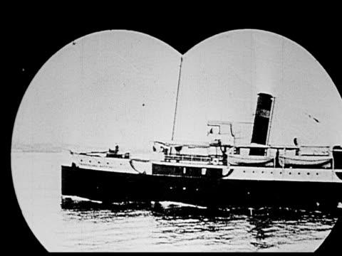 1914 B/W Wide shot Large steamship floating on sea through binoculars