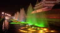 Wide shot lighted fountains in front of Gate of Heavenly Peace/ Beijing, China