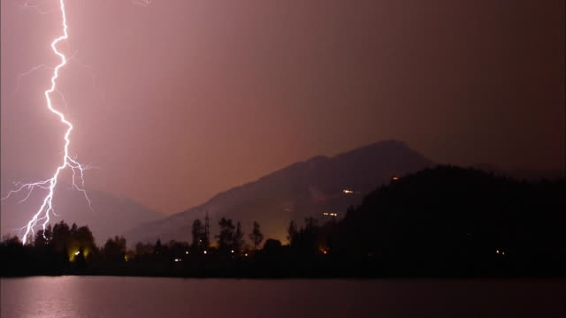 Wide shot lightning bolts flashing over mountain lake at night