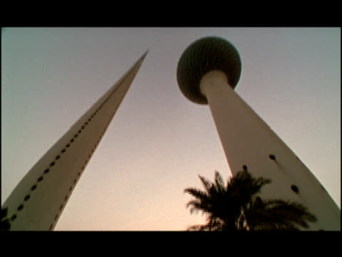 2001 Wide shot Modern Kuwait Towers standing in city street/ Kuwait City, Kuwait