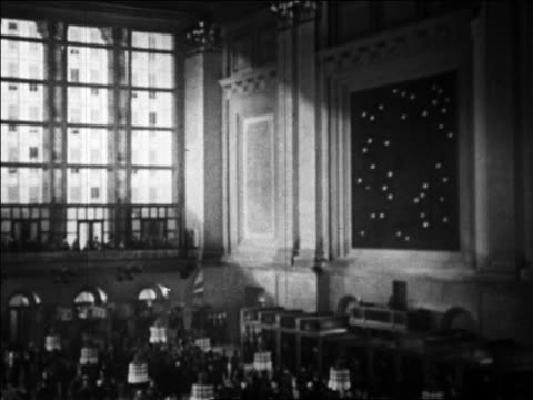 B/W 1929 wide shot New York Stock Exchange / Wall Street NYC / newsreel