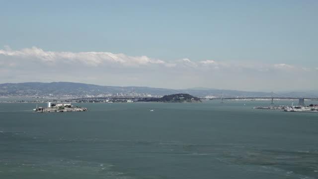 Wide Shot of Alctraz, the Bay Bridge, and San Francisco Bay