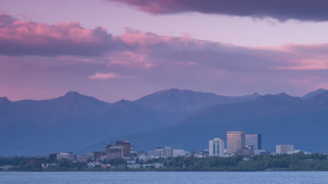 Wide shot of Anchorage cityscape in front of mountains