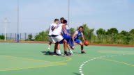 HD: Wide Shot of Attractive Basketball Action