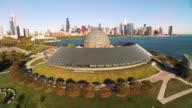 Wide shot of Chicago skyline shot from behind Adler Planetarium