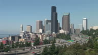 Wide shot of city of Seattle United States