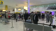 Wide shot of guests at reception to mark closure of the airport's terminal one The building at one time Europe's largest shorthaul terminal was...