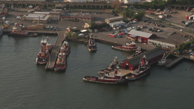 Wide shot of McCallister Towing tugboats docked in a harbor