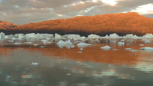 Wide shot of midnight sun landscape in Greenland