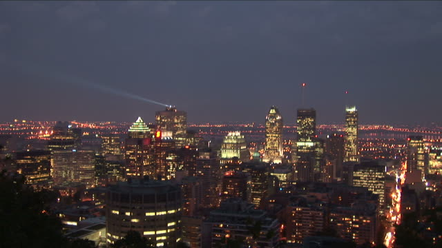 Wide shot of Montreal city in Montreal Canada