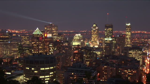 Wide shot of Montreal downtown at night in Montreal Canada