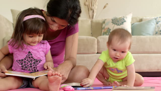 Wide Shot of Mother Reading to 2 year old Daughter