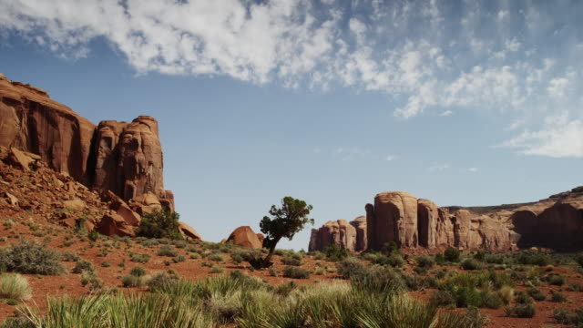 Wide shot of rock formations in Monument Valley / Monument Valley, Utah, United States,