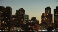Wide shot of skyline at magic hour in Boston United States