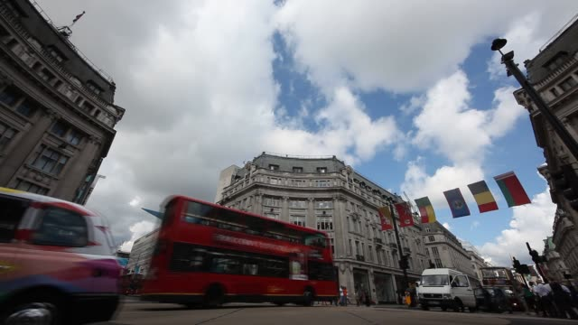 Wide shot of the intersection of Oxford Street and Regent Street in London Intersection of Oxford and Regent Streets in Londo on August 06 2012 in...