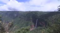 Wide shot of the Nohkalikai Falls, Meghalaya, India.