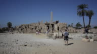Wide shot of tourists at the Karnak Temple Complex