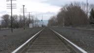 Weitwinkelaufnahme von Zugschienen