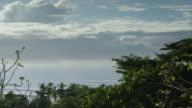 Wide shot of treetops over seascape / Esterillos, Puntarenas, Costa Rica