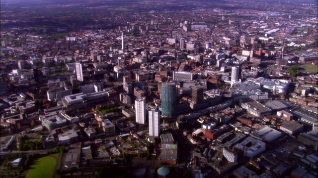 Wide shot pan Buildings crowding cityscape/ Birmingham, England