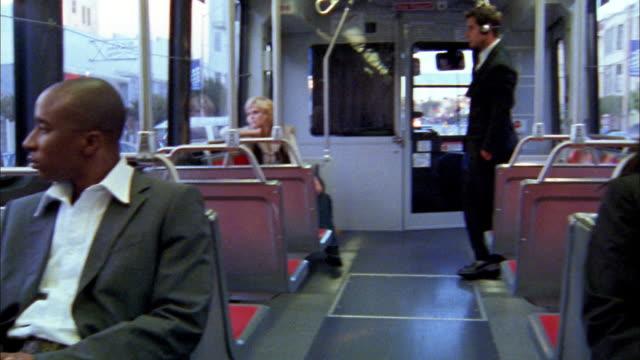 Wide shot pan bus interior / San Francisco