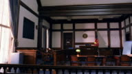 Wide shot pan empty courtroom