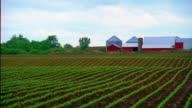 Wide shot pan from cultivated fields to farm with silo / Iowa