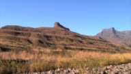 Wide shot pan of mountainous landscape, Western Cape Province, South Africa