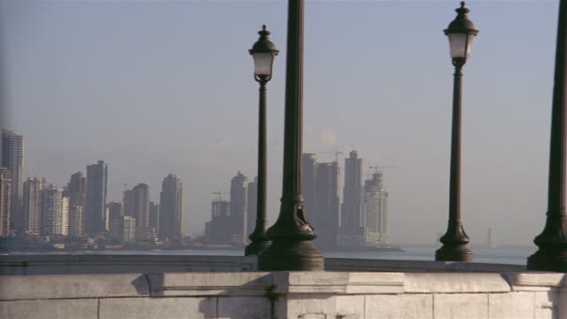Wide shot pan skyline from waterfront/ Panama City, Panama