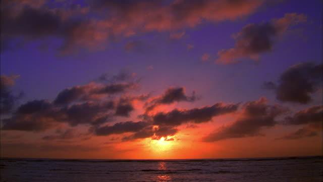 Wide shot pan sunset over Pacific Ocean