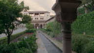 1999 Wide shot pan Water splashing in fountain in Generalife Gardens at the Alhambra/ Granada, Spain