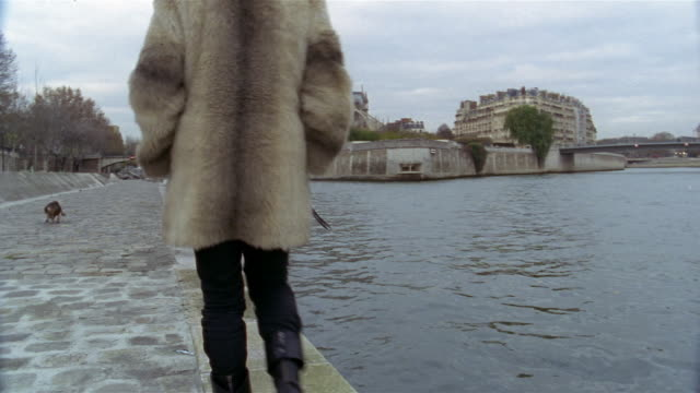 Wide shot person walking by River Seine with Notre Dame Cathedral and Archveche bridge in background / Paris, France