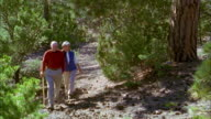 Wide shot senior couple hiking on park trail