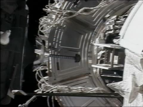 2003 wide shot Soyuz capsule docking with International Space Station
