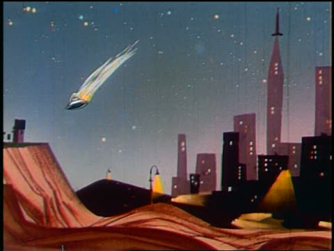 1948 ANIMATED wide shot PAN spaceship taking off causing damage to house + skyscraper on way to Mars