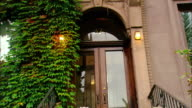 Wide shot stoop of ivy covered brownstone building/ zoom in ivy and address/ Brooklyn, New York
