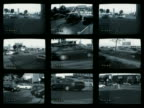 Wide shot surveillance CAM footage frames of traffic on roads