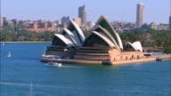 Wide shot time lapse boats on harbor around Sydney Opera House