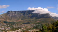 Wide shot time lapse clouds passing by Table Mountain / South Africa