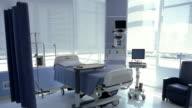 Wide shot Tray sitting on empty hospital bed  in hospital room/ Panama City, Panama