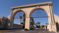 1991 wide shot view of the Paramount Pictures studio gate / Los Angeles