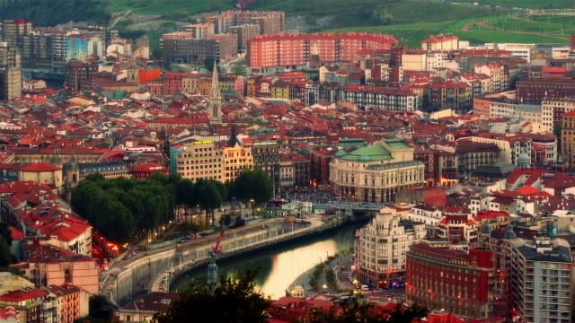 Wide shot View overlooking medieval architecture of Old Town/ Bilbao, Vizcaya Province, Spain