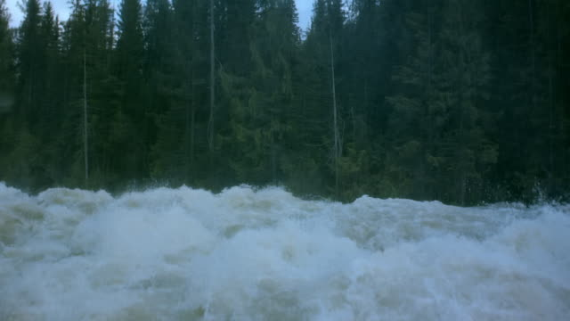Wide shot White water rapids splashing along riverbank/ British Columbia, Canada