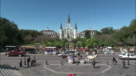 Wide Shot Zoom In - St. Louis Cathedral on bright, clear day / New Orleans Louisiana
