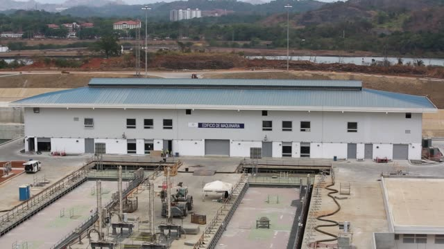Wide shots of construction zone on the Panama Canal at the new lock in Cocoli Panama on Thursday April 7 2016 Shots wide shot from observation tower...