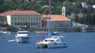 Wide shots of Vis Town the largest town on the island of Vis Croatia Vis Town from Kut Vis island Croatia at Kut Marina on September 01 2013 in Split...